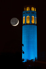 Coit Tower with Setting Crescent Moon (phil_mcgrew) Tags: sanfrancisco longexposure nightphotography blue moon support landmark luna crescent coittower playoffs warriors goldenstate