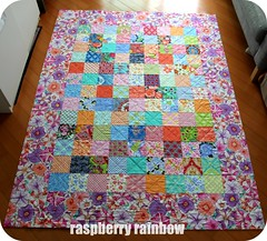 Quilt top, all squared up and ready for binding. (The Land of the Raspberry Rainbow) Tags: family grandma hk flower colour love floral march blog quilt handmade fabric april imadethis petunia granny petunias madewithlove 2013 raspberryrainbow wwwraspberryrainbowcom
