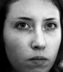 (Ethnika) Tags: portrait blackandwhite woman eyes soft grain blurred trix400 om2n