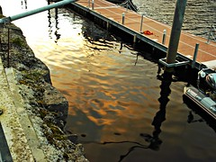 Sunset in water (AislingF2012) Tags: sunset sea orange reflection water dock finepix fujifilm donegal jv300