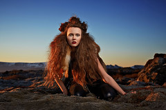 Wild thing (LalliSig) Tags: blue red wild portrait orange woman brown black fashion hair fur iceland model photographer thing gray portraiture fox