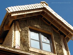Straw Bale Roof Construction WM (Rubber Dragon) Tags: house window wooden construction frame strawbale