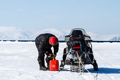 Gas Station Stop(2013) (VRileyV) Tags: inuit guide nunavut snowmobile pondinlet arcticbay floeedge may2013