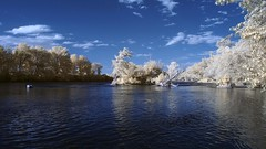 The Ottawa River (Art of Nicholas) Tags: canada nature water river landscape outdoors photography photo scenery ottawa rapids infrared waterscape deschenes falsecolorinfrared