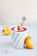 blackberry soup (norijuranyi) Tags: summer food cold yellow fruit soup blackberry purple peach foodphotography foodstyling