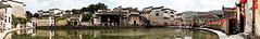 Hongcun panoramic (vip2014) Tags: world china old morning travel blue sky house lake reflection building heritage tourism nature water pool beautiful stone wall architecture rural garden landscape asian dawn evening countryside site pond ancient asia village dusk stonework traditional famous country chinese culture style scene panoramic historic east roofs destination      nightfall anhui huizhou     hongcun