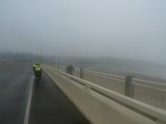 P1070350 (leokai27) Tags: road bridge mist bicycle sign fog hidden shroud 1000kaug152013