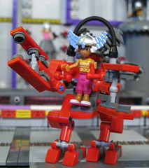 Friends Red PowerSuit - These suits are nimble, efficient, powerful and FUN! (Bricksky) Tags: friends logo bay lego space contest depot ammunition moc 2013 brickcon bricksky