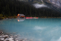 lake louise boat house (Eric KeE) Tags: travel vacation lake canada nature water forest outdoors photography nikon canoe alberta banff lakelouise boathouse mustsee d7000 lakelouisebanffcottageboathousealberta