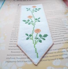 bookmark cross stitch /  -   (katarishko) Tags: roses floral cross stitch petal marker bookmark
