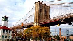Brooklyn Bridge at Brooklyn tower (Lojones13) Tags: brooklyn dumbo brooklynbridge iphone brooklynicecreamfactory