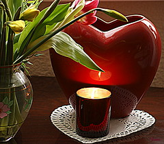 Heart matters. (Patricia Speck) Tags: light stilllife reflection water glass table candle tulips valentines wax tricia daffodils wick heartvase patriciaspeck