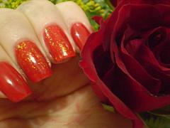 lov.u - Impala + Melindrosa - Colorama (marianamrr) Tags: flor rosa vermelho impala unhas esmalte colorama melindrosa lovu flocado nailpolishland tccolorama