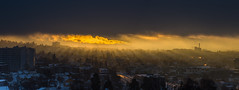 Enlightened (Tore Thiis Fjeld) Tags: city morning light sky panorama sun oslo norway fog clouds sunrise golden view smoke saturation sunrays beams colos exhaust enlightened breakingtrough