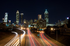 Atlanta Skyline at Night (tmac0381) Tags: city atlanta night lights downtown overpass lighttrails atlantaskyline favorited jacksonstreetbridge nauticaltwilight astronomicaltwilight