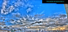 Near Sunset Cloud Formations, HDR Panorama (Walker Dukes) Tags: sanfrancisco california pink blue red sky urban orange cloud white black green art yellow skyline photoshop canon landscape fun gold cityscape view skyscrapers purple gray violet photograph cumulus mysterious highdefinition vista mystical dreamy sfbayarea universe magical wispy 4thdimension photomatix hdrpanorama altereduniverse highdefinitionresolution canons95