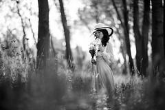 Giulia (BeniaminoGelain) Tags: portrait bw white black flower hat canon long dress bokeh country grain concept 12 portfolio 85 cittadella giulia oof xie gelain 2013 beniamino fontaniva uploaded:by=flickrmobile flickriosapp:filter=nofilter vision:outdoor=0702 vision:sky=0515
