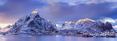 Meridian | Reine, Lofoten, Norway (v on life) Tags: longexposure winter light sunset sea panorama snow mountains water colors norway clouds pano panoramic peaks lofoten reine fishingvillage rorbuer olstinden olstind