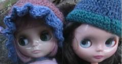 Melissa in her new bonnet I crocheted blythe hats