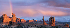 Balanced Rock Sunset and Rainbow, Arches National Park, Moab, Utah. (pedro lastra) Tags: sunset sky cloud clouds rainbow nikon outdoor dusk d750