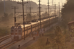 NICTD 29 Boarding a Morning Inbound at  Dunes Park, Indiana on August 22, 1987 (railfan 44) Tags: chicago bend south shore interurban nictd