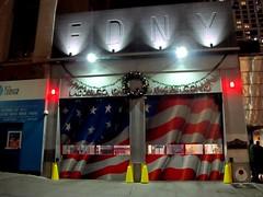 WTC FIre House (frankieleon) Tags: new york city newyorkcity blue red white ny stars fire downtown manhattan worldtradecenter 911 9 11 help hero wtc firestation firehouse ladder10 firefighters nyfd heros fd citystreet engine10 laddercompany10 enginecompany10 911tributecenter