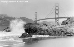 Golden Gate Bridge in Cloud from Baker Beach (Dave Butcher Photography) Tags: sanfrancisco bridge blackandwhite beach waves photograph goldengate fineartphotography davidbutcher davebutcher