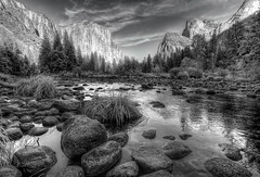 Yosemite - Gates of the Valley bw (Morning Star Images) Tags: water mono yosemite gatesofthevalley