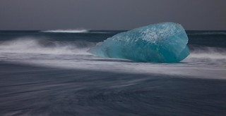 The ice bullet. Huge glacial ice block on the north beach of Jokulsarlon, Iceland ( View Large! )