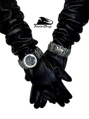 Trendy and stylish black leather long gloves with wide metal bracelets and vintage clocks (+ Watches braslet- vintage bangle) steampunk, gothic, vintage, Victorian style (fenixdrag) Tags: handmade gothic victorian accessories steampunk gothicstyle longgloves vintageaccessories handmadeaccessories gothaccessories handmadegloves steampunkaccessories victorianaccessories victoriangloves gothicgloves steampunkgloves leatherlonggloves watchbraslet gloveswatch glovesbracelet darkgloves vintageglovesleather