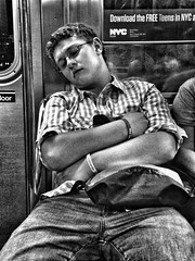 Download Complete (TuthFaree) Tags: city nyc boy sleeping bw newyork male monochrome subway monotone teen elements transit streetshot
