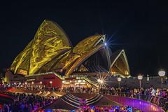 Painted sails (merbert2012) Tags: city longexposure travel yellow fun reisen cityscape sydney australia lightshow sydneyharbour sydneyoperahouse worldheritagesites nikond800 vividsydney