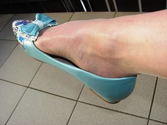 wearing my new mint sissy style ballet flats the first time, relaxing on the balcony (Isabelle.Sandrine1998) Tags: ballet stockings tattoo shoes pumps legs flats dangling anklet nylons shoeplay ballrins powderbluesissypumps