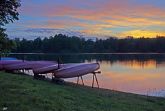 Canoes (AllTheGoodIDsAreTaken) Tags: trees sunset reflection water dusk canoes