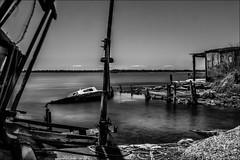 Dsolation (Explore) (vedebe) Tags: city bw mer monochrome architecture port eau noiretblanc bateaux nb nd rue paysages ville fleuve urbain abandonn pche poselongue netb