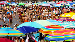 Standing Room Only (Thank you for 4M+ views.) Tags: sea people colour beach water spain crowd umbrellas crowds crowded torrevieja