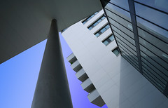 Plant on a balcony (Wim van Bezouw) Tags: blue sky building architecture modern balcony