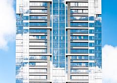 Blue Condo's Pioneer Square 1 of 2 (Orbmiser) Tags: skyscraper condos building cityscape architectural architecture clouds reflections nikon d90 55200vr portland oregon