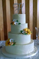 rough-iced wedding cake (RebeccaSutterby) Tags: wedding cake daisies monogram rustic sugar sunflowers gumpaste 4tier roughiced