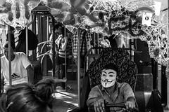Remember those days? / Fawkes at the wheel (Özgür Gürgey) Tags: park street bw bus broken 35mm nikon mask candid protest istanbul taksim fawkes gezi shuttered 2013 d7100