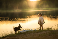 pre vacation (iwona_podlasinska) Tags: boy sunset dog lake childhood