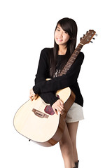 Young asain girl (Patrick Foto ;)) Tags: portrait people musician music woman white playing cute girl beautiful smile smiling rock closeup female youth standing fun thailand happy person one student model holding education pretty artist play close guitar background young lifestyle player full musical thai singer instrument attractive teenager acoustic leisure length guitarist isolated