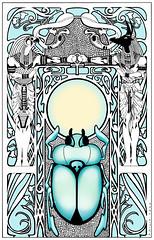 La Foire Aux Immortels (PiscesDreamer) Tags: life sun art sunrise death cobra jackal snake egypt artnouveau egyptian falcon horus gods symbols ankh rebirth mythology inkdrawing symbolism deities anubis scarabbeetle dungbeetle khepera kheprer khepri chepri