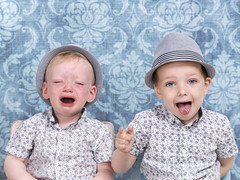 It's always fun trying to get a nice pic of these pair! (David Wagstaffe) Tags: blue kids children funny brothers crying siblings props