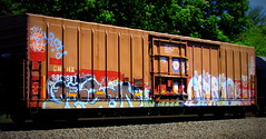 pagan - erupto (timetomakethepasta) Tags: pagan erupto ync a2m d30 droid freight train graffiti cmhx boxcar general mills gold medal