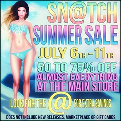 Sn@tch Summer Sale Poster 2016 (Tess-Ivey Deschanel) Tags: snatch sntch secondlife sl second sexy style specials slink sale summer ivey ihearts iveydeschanel deschanel designer clothing clothes costumes clubwear corset capris casual corsets mesh model meshclothing meshclothes mini omegasystem outfits omega bodysuit bikinis bellezabody blouse beach bikini maxi maitreya punk pixels pants pvc party plaid pumps pastels physique polkadots life leather latex lolas lace leopard lingerie leggings lolastangos dresses dress design tops pulse