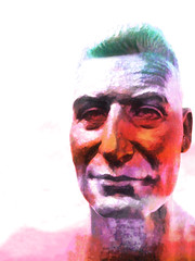We Need More Heroes (Steve Taylor (Photography)) Tags: pink red newzealand christchurch sculpture orange white man green art texture museum digital canterbury calm bust nz mauve southisland