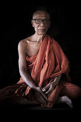 Serenity (fredMin) Tags: old travel portrait people man fuji monk wise fujifilm xt1
