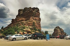 The Drive into Red Rocks No. 08, 2015.07.15 (Aaron Glenn Campbell) Tags: park summer vacation sky apple clouds parkinglot colorado roadtrip faded redrocks amphitheater morrison excursion 645pro jaggr iphoneography instagramapp uploaded:by=instagram snapseed ios8 iphone6plus