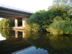 A55 from the south, 2016 Jun 05 (Dunnock_D) Tags: uk bridge blue trees england sky reflection river unitedkingdom britain dee riverbank bushes roadbridge a55 northwalesexpressway